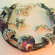 Moon and Stars Lamp Work, Leather and Gemstone Bracelet