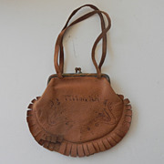 Leather Child or Dolls Souvenir Purse Tilton N.H.