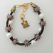Copper, Brass and Gold Leather and Freshwater Pearl Turtle Bracelet