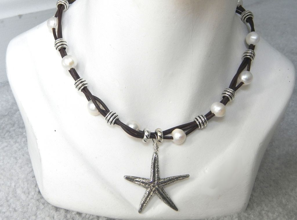 Leather and Freshwater Pearl Starfish Necklace