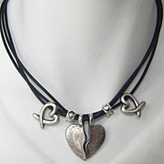 Pewter Broken Heart Leather Necklace