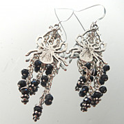 Spooky Spider and Black Spinel Earrings