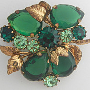Green Teardrop Open Back Rhinestones in Two Shades Pin Signed Austria
