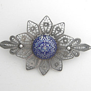 Silver Filigree Pin With Blue Enamel Aztec Design