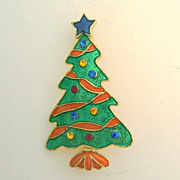 Enamel and Rhinestone Christmas Tree Pin Signed TC