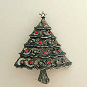 Pewter Colored Christmas Tree Pin Signed AS
