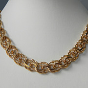 SALE Trifari Goldtone Thick Wide Chain Necklace