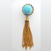 SALE Austrian Turquoise Art Glass and Rhinestone Tassel Pin