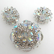 SALE Aurora Bead and Rhinestone Cluster Pin and Go With Earrings