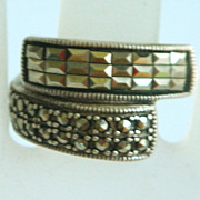 SALE Unusual Marcasite Baguettes and Round Stone Sterling Bypass Ring