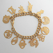 SALE Fluttery Gold Tone 12 Days Of Christmas Charm Bracelet