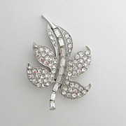 SALE Sparkly Pave Set Rhinestone Leaf Pin