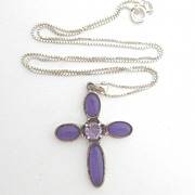 SALE Lavender Stone Sterling Cross Necklace