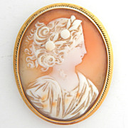 SALE 14k Large Shell Cameo Pin