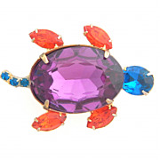 SALE Colorful Rhinestone Turtle Pin