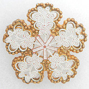 SALE Silver and Gold Snowflake Pin Designer Signed