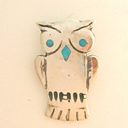 SALE Cute Silver Owl Pin