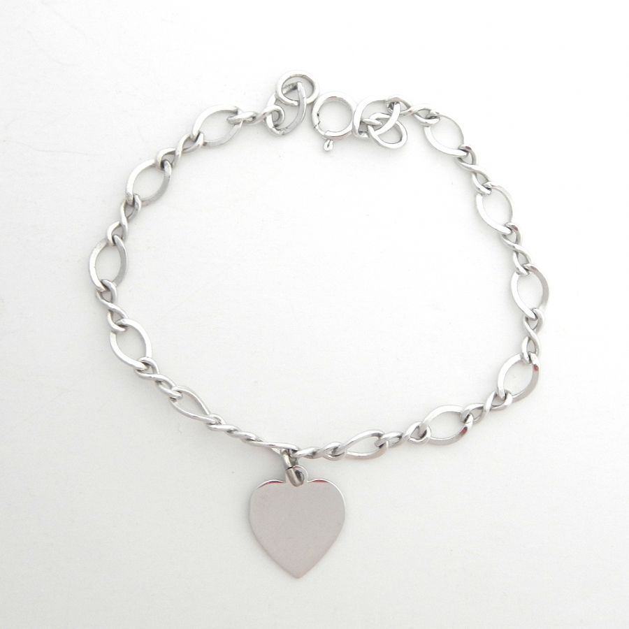 Sterling Charm Bracelet with Silver Heart Dangle