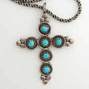 SALE Native American Turquoise and Sterling Cross on Thick Sterling Chain