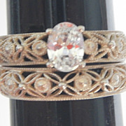 SALE Sterling Filigree Wedding Ring Set By Avon Size 10