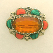 SALE Serling Scottish Cairngorm Pin with Citrine, Malachite and Agate