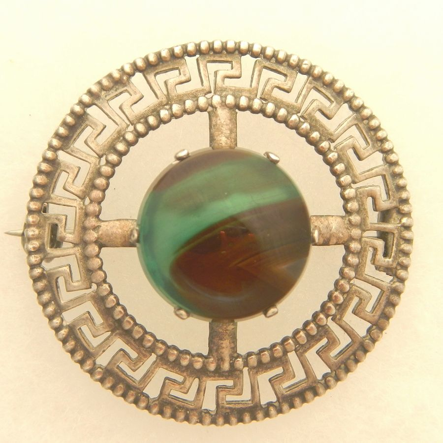 Scottish Greek Key Design Silver Pin with Fabulous Green Stone