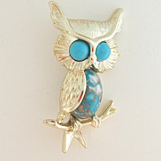 SALE Emmons Owl Pin with Blue Confetti Belly