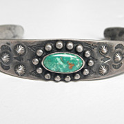 SALE Old Pawn Sterling and Green Turquoise Cuff - Fred Harvey Era