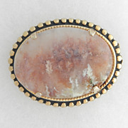 SALE Victorian Pin with Pink Foamy Moss Agate Stone