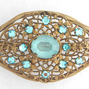 SALE 1920's Czechoslovakian Brass Filigree Pin With Sky Blue Stones