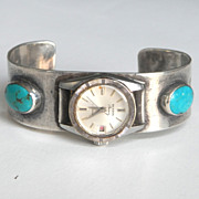 SALE Native American Turquoise and Sterling Watch Band Cuff