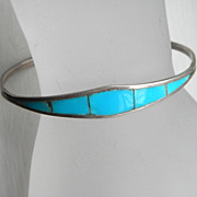 SALE Vintage Sterling Turquoise Inlay Bracelet Native American