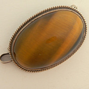 SALE Tigers Eye Cabochon Pin / Pendant In Sterling Setting