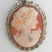 SALE 1940's Shell Cameo with Diamond Necklace Pin / Pendant