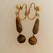 SALE 14k Gold Filled Tigers Eye Earrings