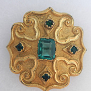 SALE Medieval Style Gold and Green Cross Motif Pin
