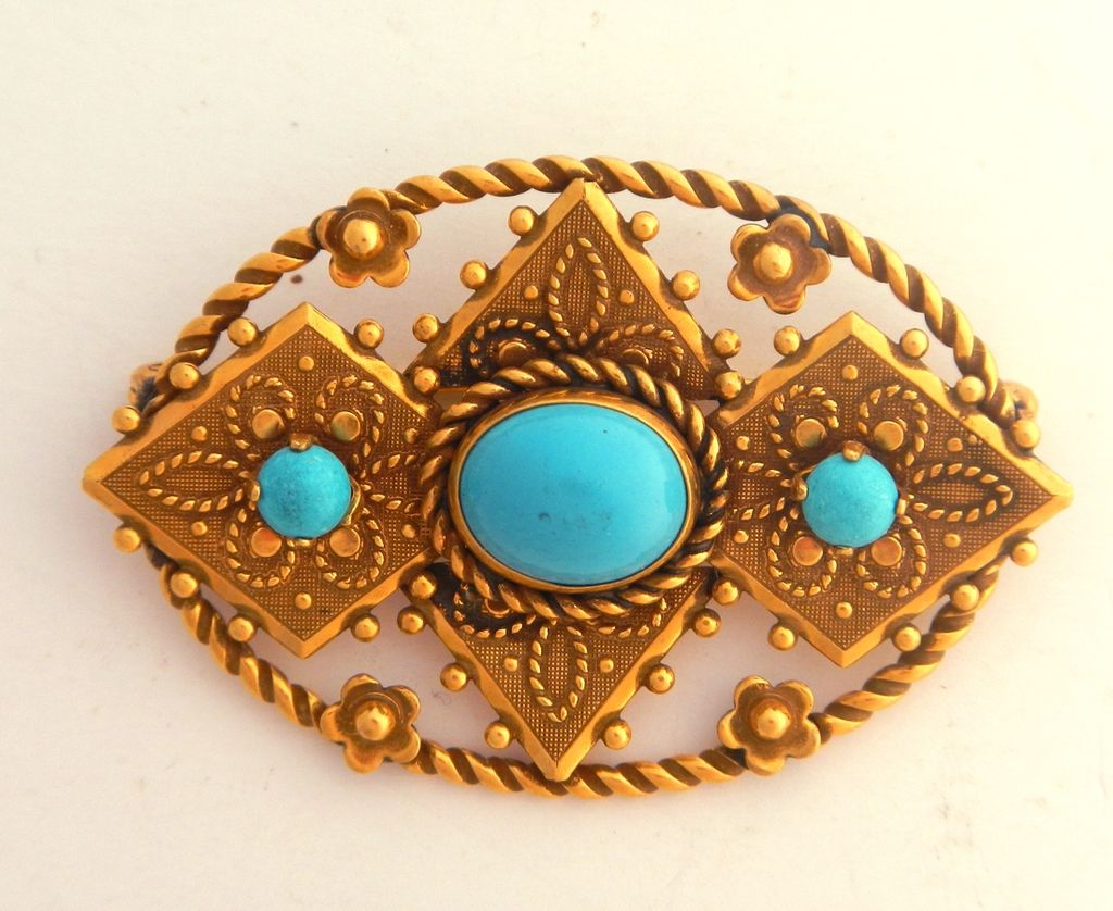 Van Dell 12K Gold Filled Faux Turquoise Pin