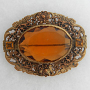 SALE Victorian Fancy Filigree Frame Pin with Large Amber Glass Stone