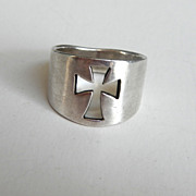SALE Cut out Cross Ring Sterling Silver