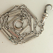 SALE Antique Fancy Watch Chain In Silvertone