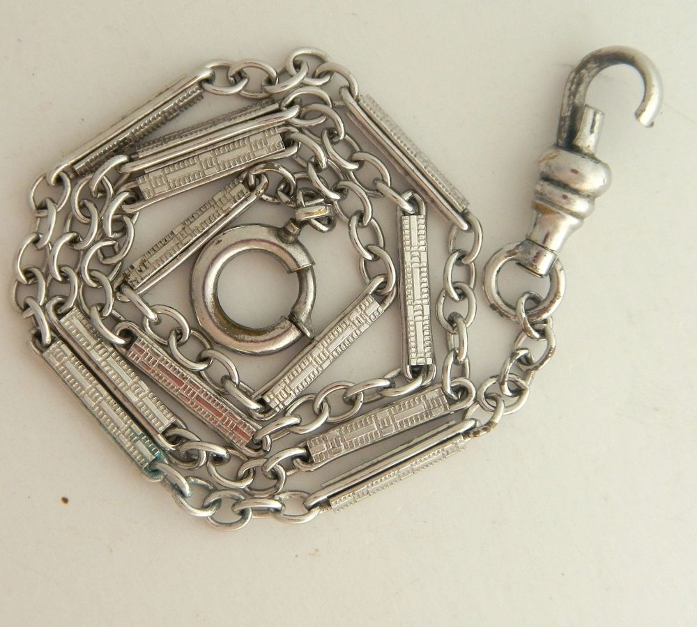 Antique Fancy Watch Chain In Silvertone