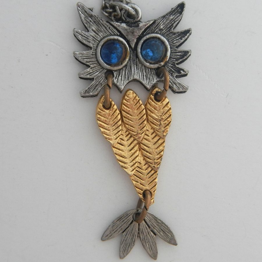 Mixed Metals Articulated Owl Pendant