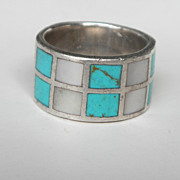 SALE Sterling Turquoise and Mother of Pearl Inlay Ring