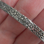 Gorgeous Repousse Sterling Silver Bangle