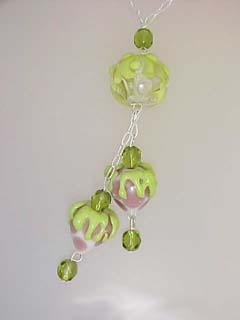 Pink and Green Strawberries Lampwork Bead Y Necklace