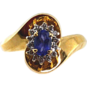 14kt Yellow Gold Ladies Ring With Tanzanite & Diamonds