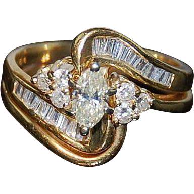 14kt Two Tone Gold & Diamond Wedding Ring Set size 5 1/2