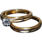 14kt Two Tone Gold & Diamond Engagement  Ring Set
