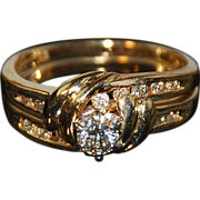 14kt Two Tone Gold & Diamond Engagement  Ring Set - Blue Ridge