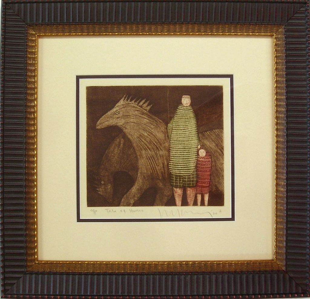 Original Etching & Aquatint by Eng Tay of Horses & People